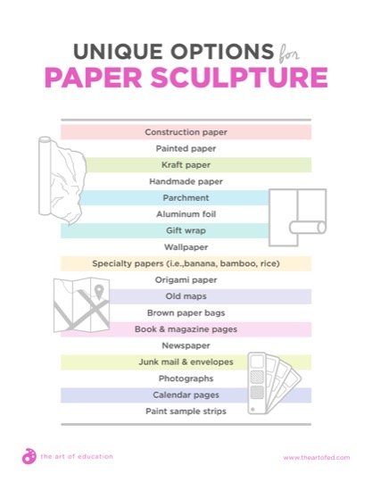 https://theartofeducation.edu/content/uploads/2018/08/36.1UniqueOptionsForPaperSculpture.pdf
