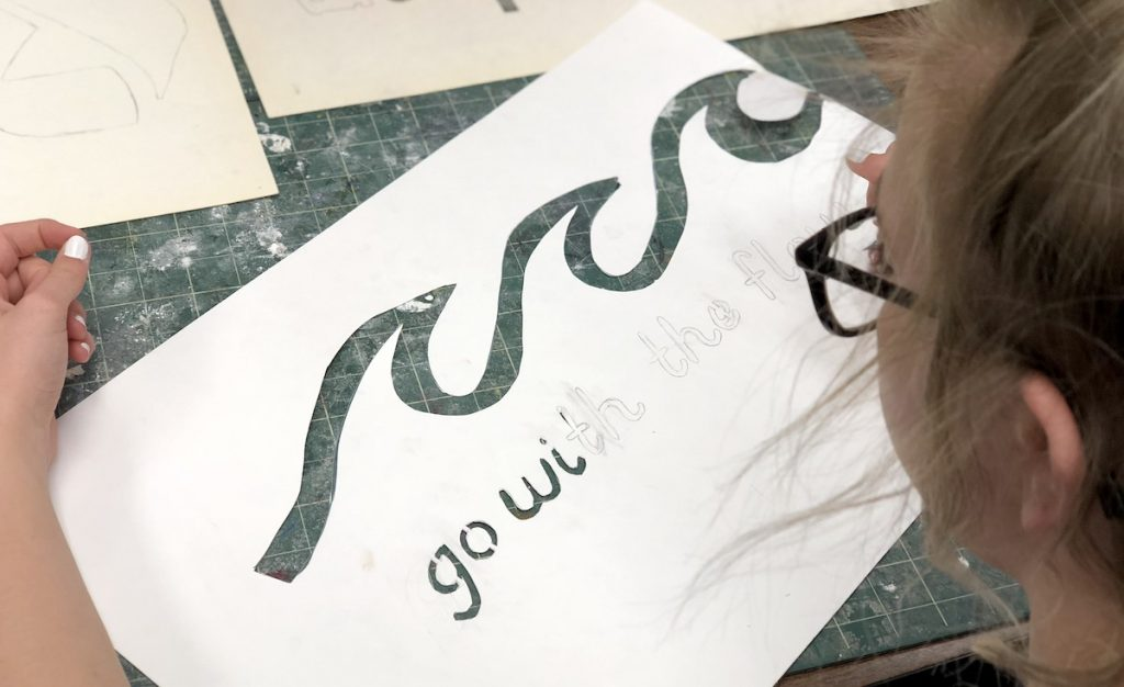 cutting out stencil