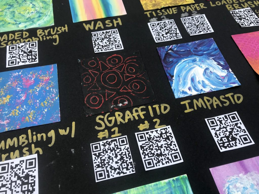 technique cards with QR codes