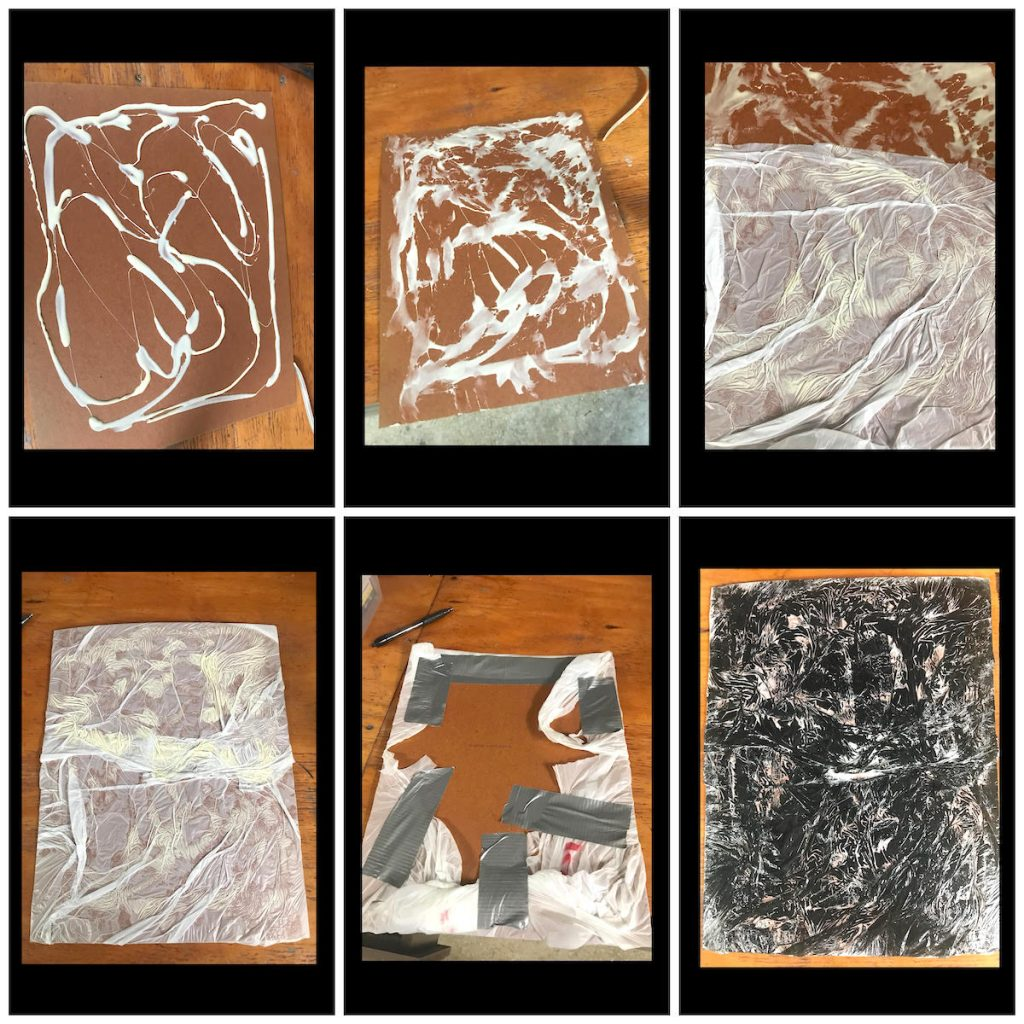 trash bag monoprint process board