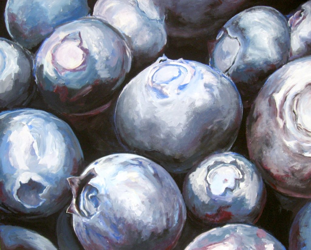 student painting of blueberries