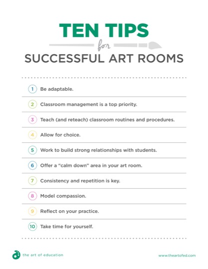 https://theartofeducation.edu/content/uploads/2018/09/39.1TenTipsSuccessfulArtRooms.pdf