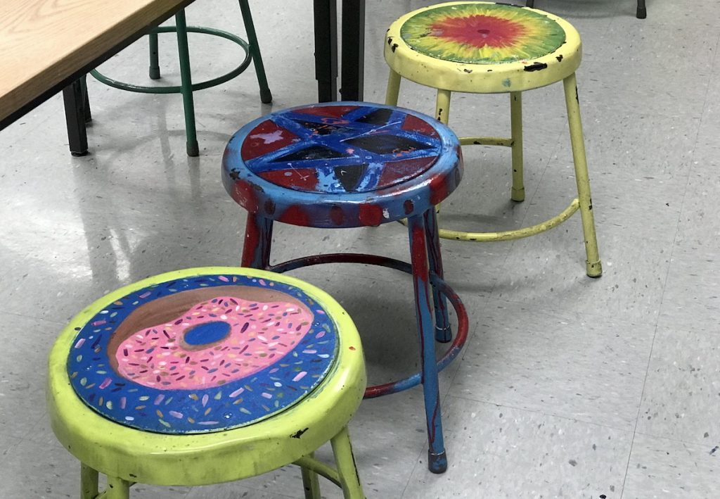 student-painted stools