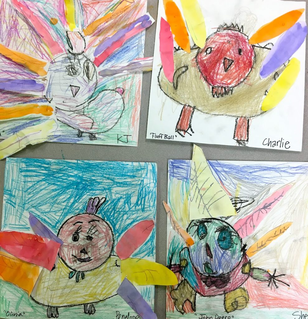 student artwork of turkeys