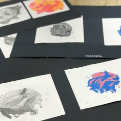 students' colored pencil drawings