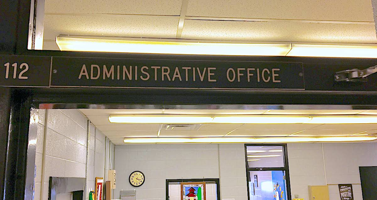photo of administrative office sign