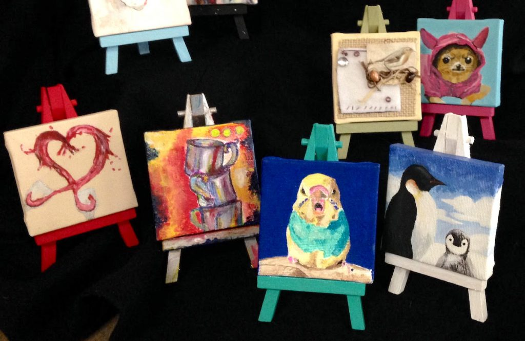 paintings on mini canvasses