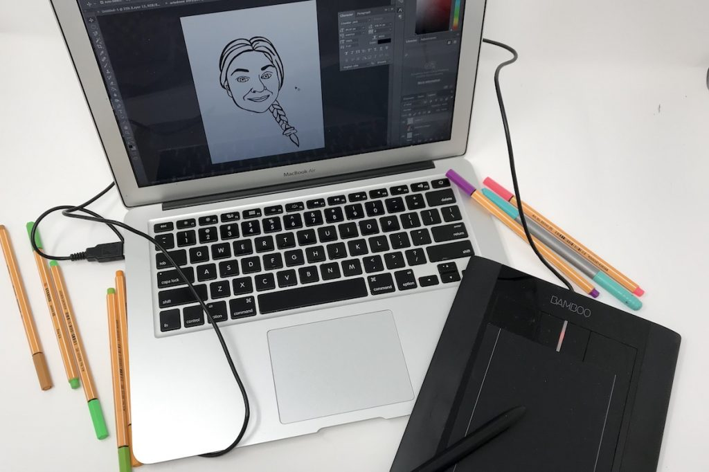 computer with drawing on it