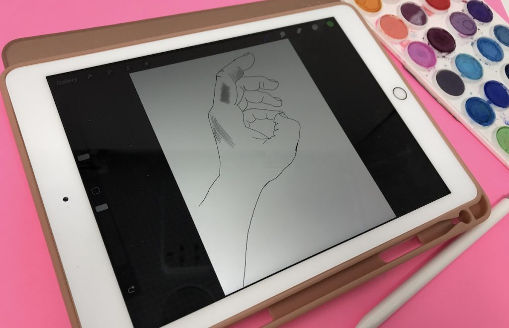 iPad with digital drawing