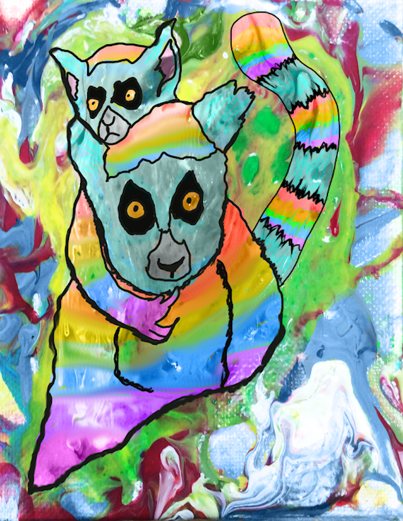watercolor and chalk background digital image of mamma and baby marsupials