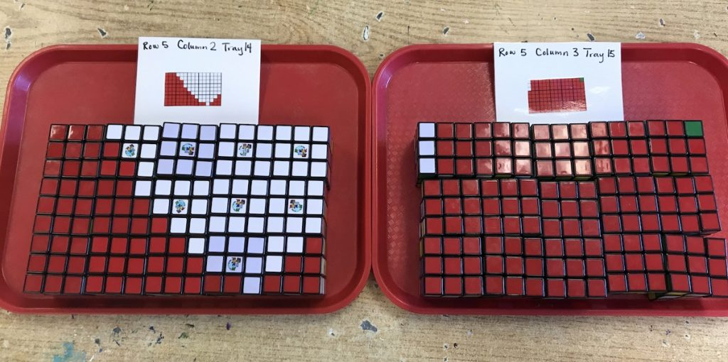Trays with Rubik's Cubes