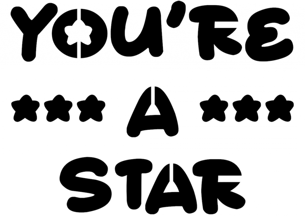 example image of a custom stencil saying you're a star