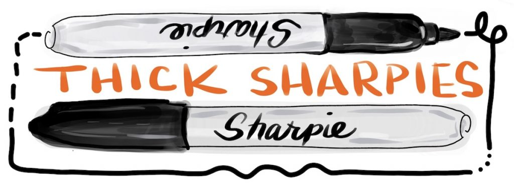 Digitally drawn Sharpie label