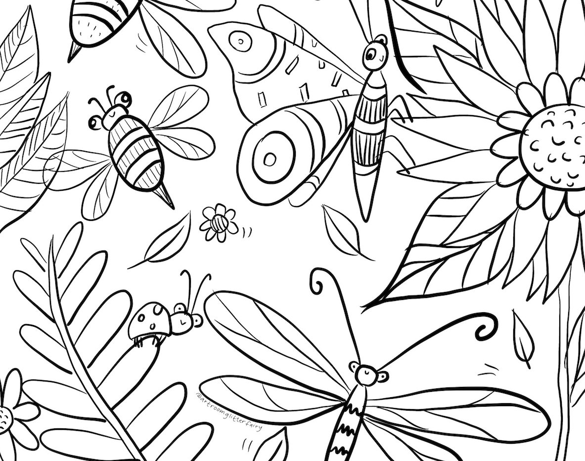 digitally drawn coloring sheet