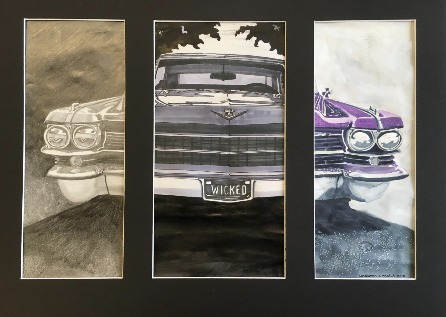 triptych artwork of vintage car