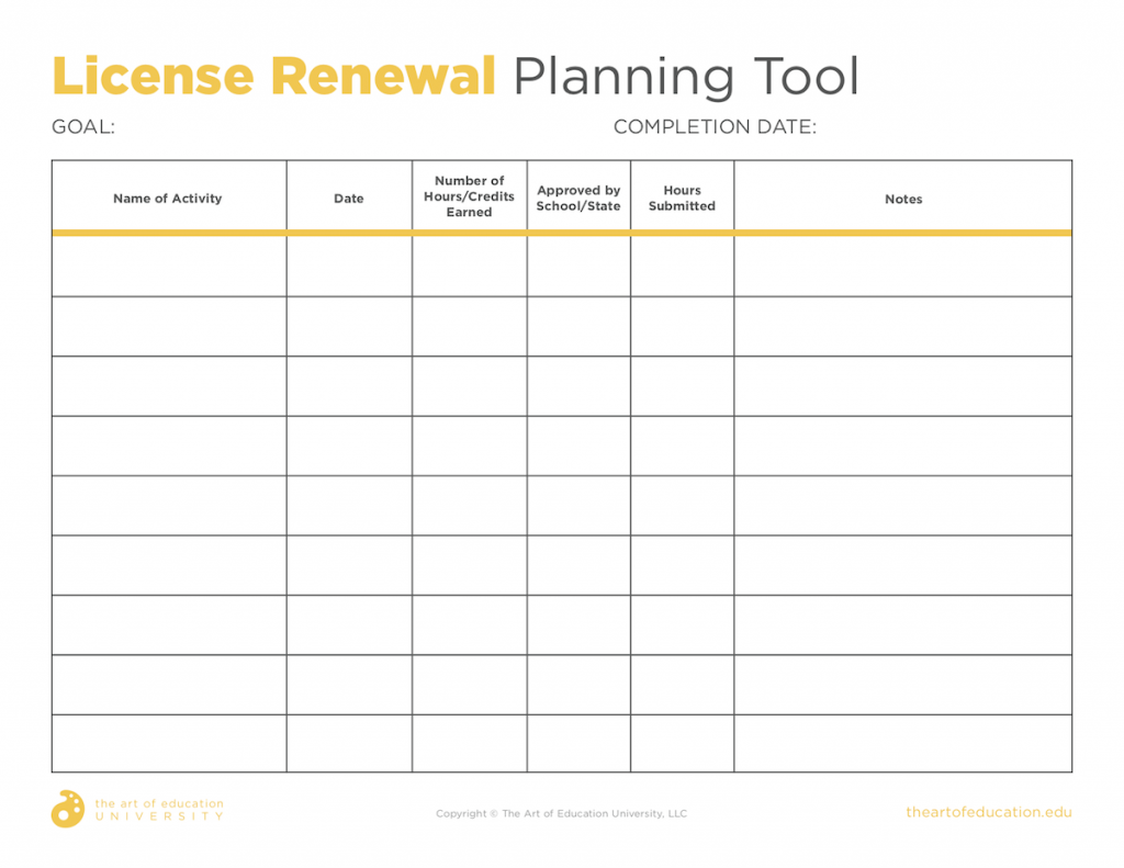 License Renewal Planning Tool