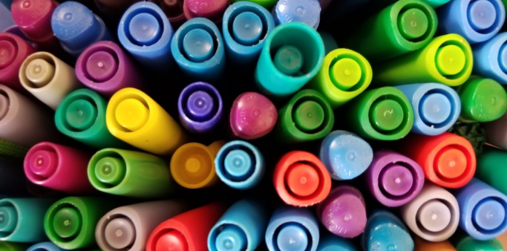 image of colored pens