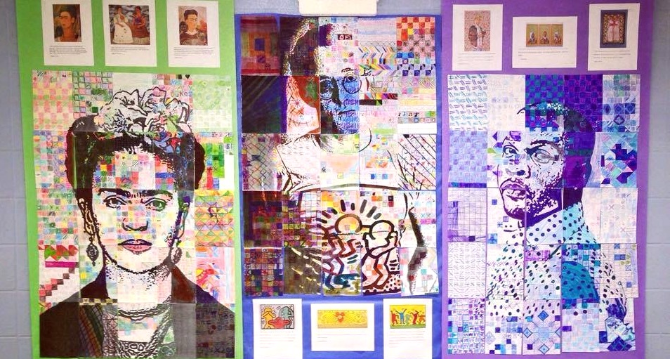 Image of student artwork on wall