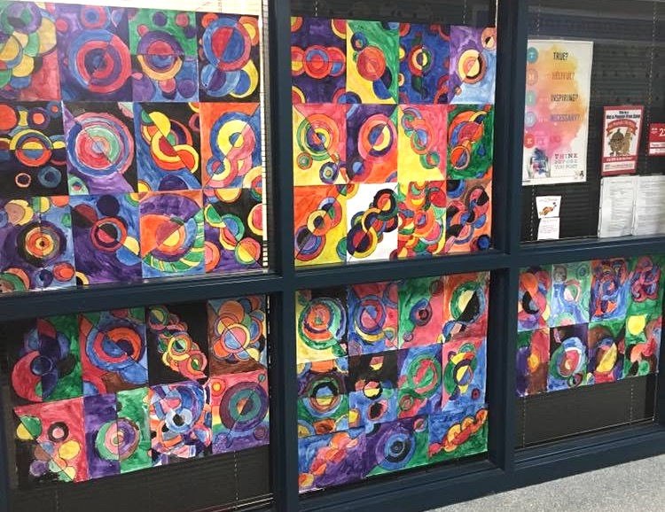 Image of student artwork on display