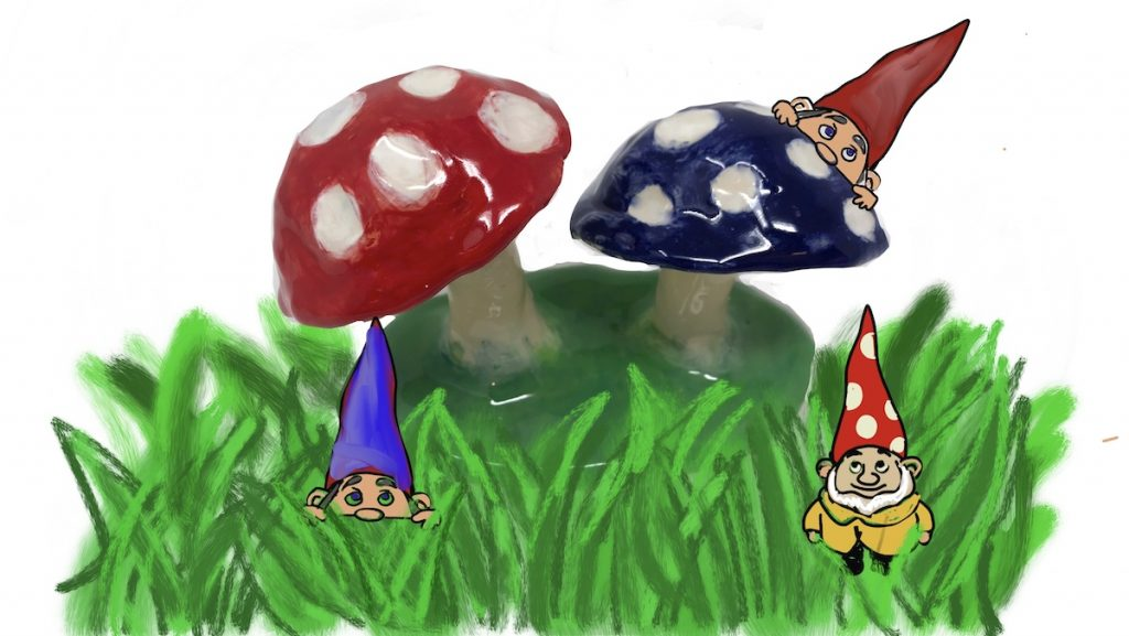 Image of a digital drawing with mushrooms
