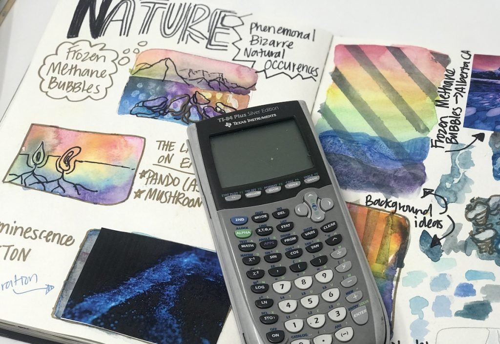 Image of a calculator and sketchnotes