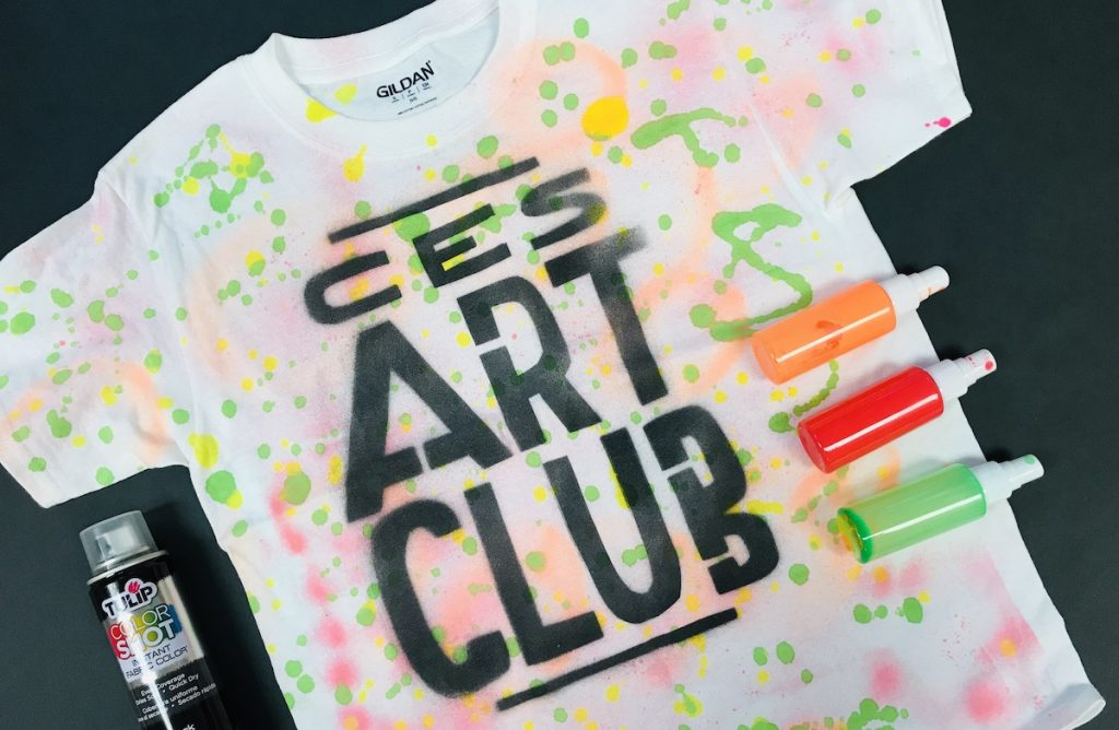 Art Club t-shirt made with spray paint
