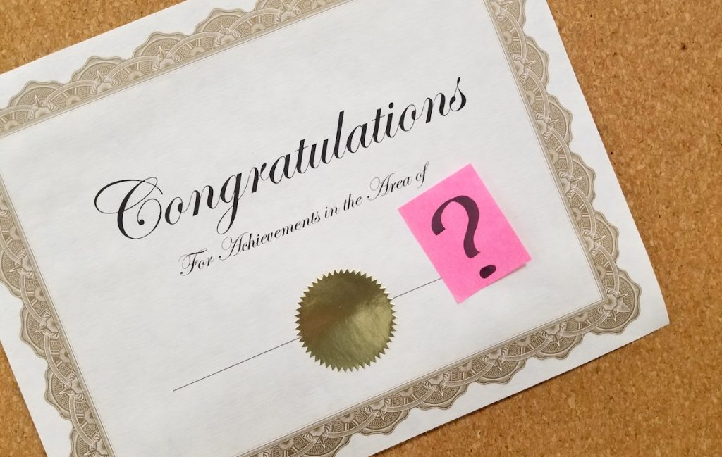 certificate of congratulations with a question mark
