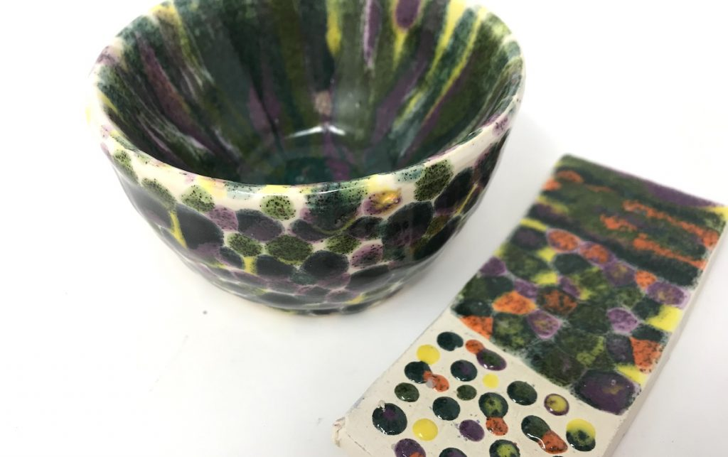 ceramic bowl and glaze test tile