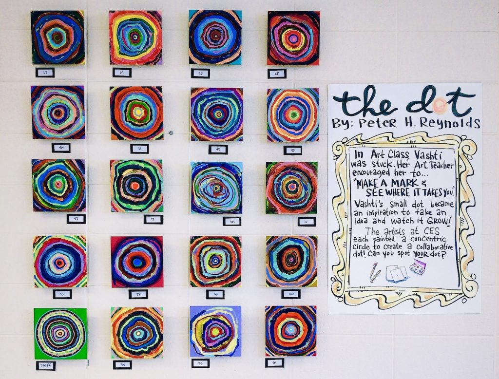 "artwork in the style of ""the dot"" on display"