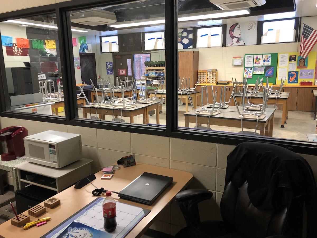Empty desk and classroom