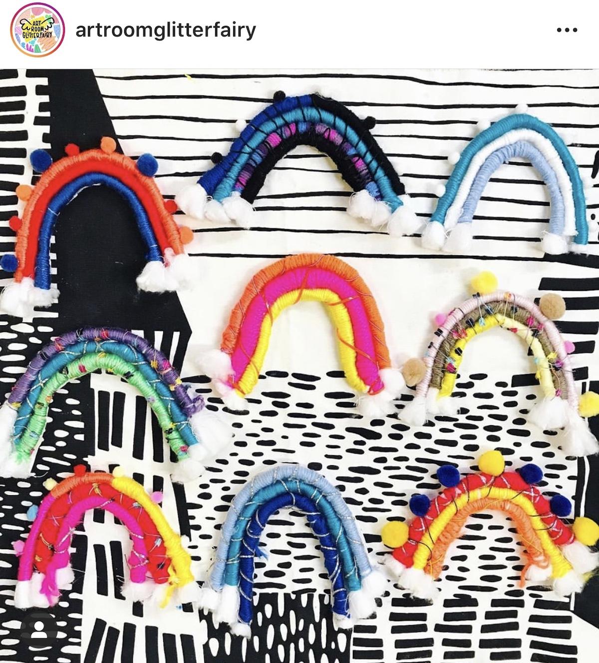 Rainbows made from yarn
