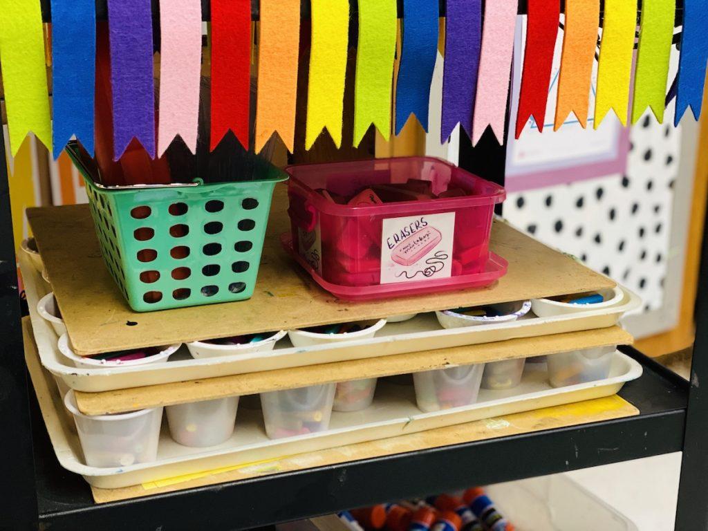 art supplies on a cart