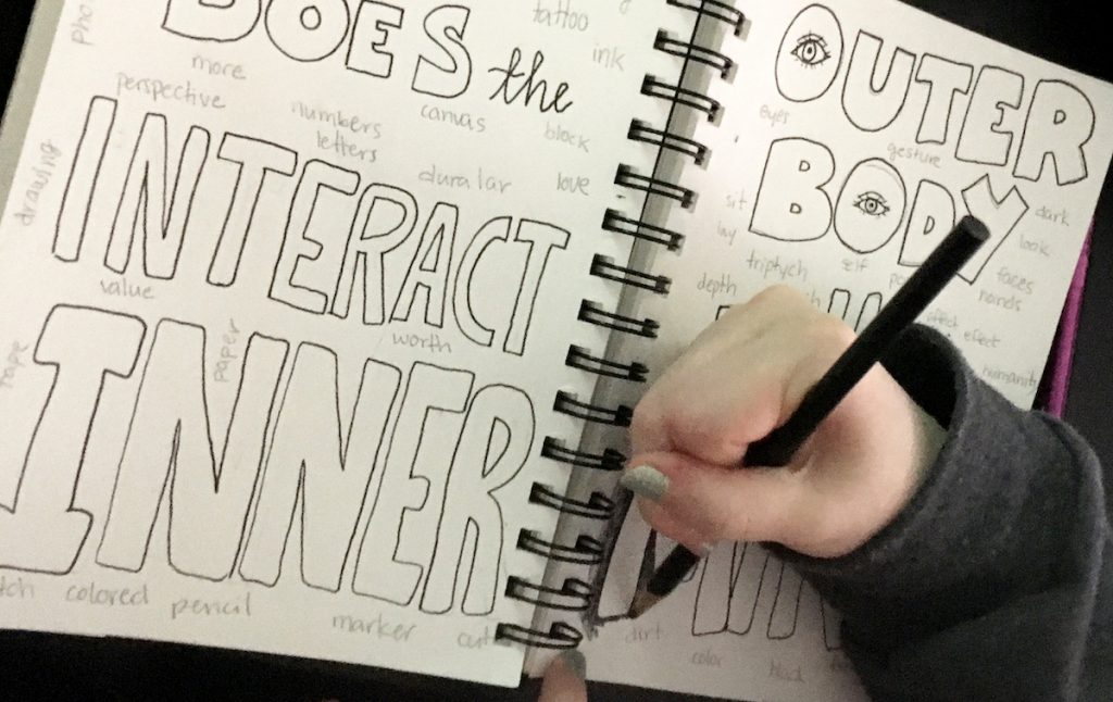 Student working on a journal